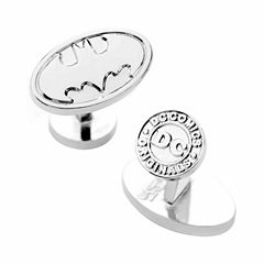 Silver Oval Batman Logo Cufflinks