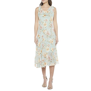 Robbie Bee Sleeveless Floral Midi Fit & Flare Dress