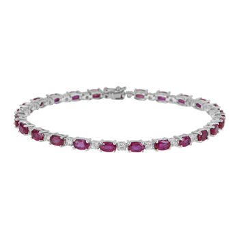 LIMITED QUANTITIES  Lead Glass-Filled Ruby and Genuine White Sapphire Tennis Bracelet