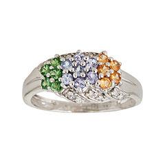 LIMITED QUANTITIES  Genuine Tanzanite, Tsavorite and Garnet Triple-Flower Ring
