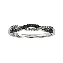 1/5 CT. T.W. White and Color-Enhanced Black Diamond Loop Ring