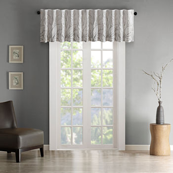 Madison Park Eliza Embroidery Faux Silk Rod-Pocket Tailored Valance