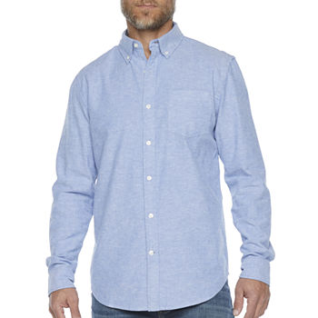 St. John's Bay Stretch Mens Long Sleeve Oxford Button-Down Shirt