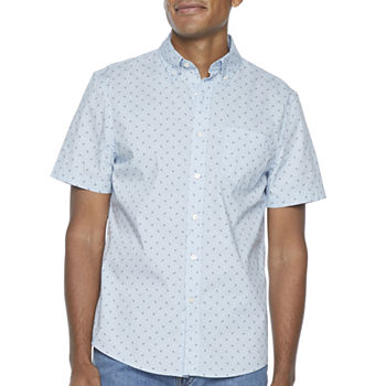 St. John's Bay No Tuck Stretch Mens Short Sleeve Paisley Button-Down Shirt