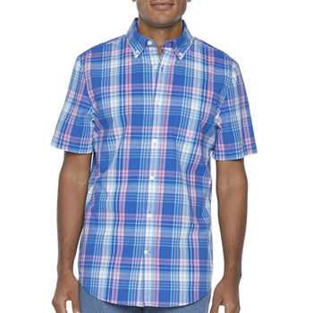 St. John's Bay Stretch Mens Short Sleeve Plaid Button-Down Shirt