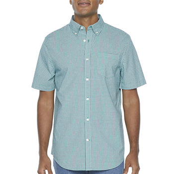 St. John's Bay Micro Check Mens Short Sleeve Button-Down Shirt