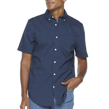 St. John's Bay Micro Dot Stretch Mens Short Sleeve Dots Button-Down Shirt