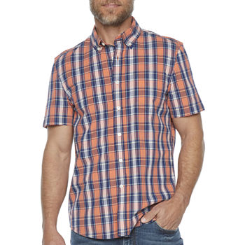 St. John's Bay No Tuck Stretch Mens Short Sleeve Plaid Button-Down Shirt