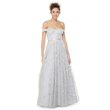 City Triangle Short Sleeve Embellished Ball Gown-Juniors