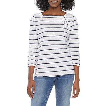 St. John's Bay Womens Square Neck 3/4 Sleeve T-Shirt