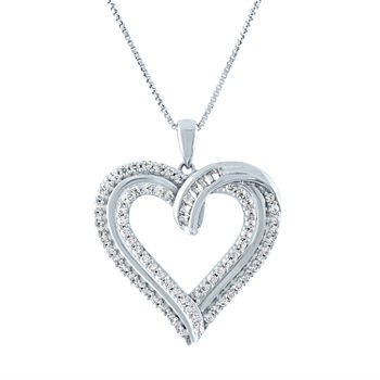 Womens 1/2 CT. T.W. Genuine Diamond Sterling Silver Heart Pendant Necklace