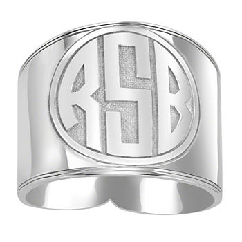 Personalized Circle Block Monogram Ring