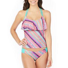 Arizona Stripe Flounce Swimsuit Top or Hipster Bottom-Juniors