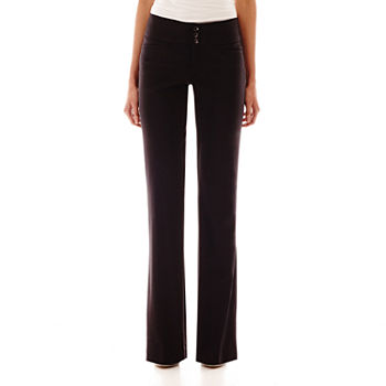 Hollywould Womens Mid Rise Bootcut Workwear Pant-Juniors Long