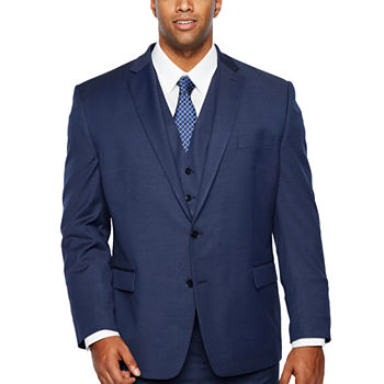 Shaquille O'Neal Blue Texture Stretch Suit Big & Tall