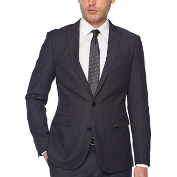 JF J. Ferrar Black Geo Birdseye Slim Fit Stretch Suit Separates