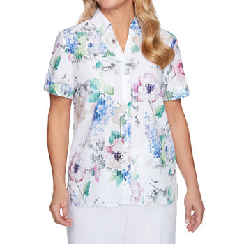 Alfred Dunner Classics Womens Short Sleeve Blouse