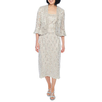 R & M Richards 3/4 Bell Sleeve Embellished Midi Jacket Dress