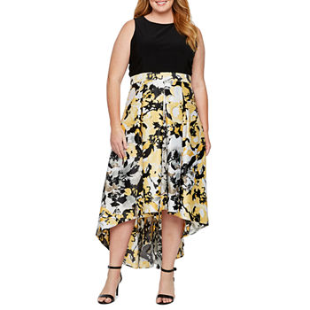 Blu Sage Sleeveless Floral High Low Evening Gown-Plus