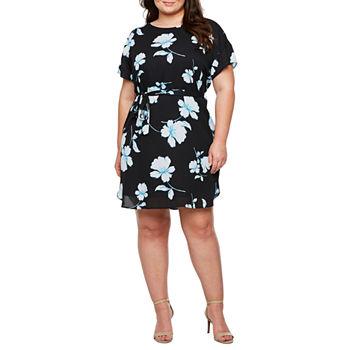 Worthington Short Sleeve Floral Shift Dress-Plus