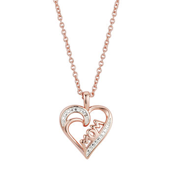 Sparkle Allure Mom Diamond Accent 16 Inch Link Heart Pendant Necklace