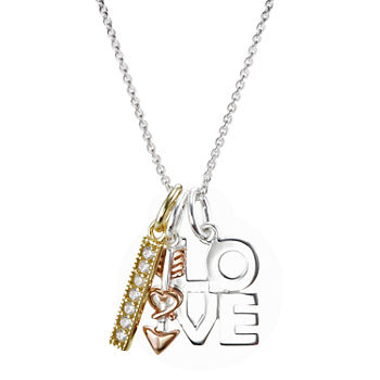 Footnotes Love Clear Crystal Sterling Silver Pendant Necklace