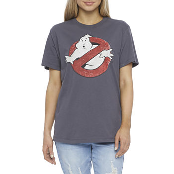 Mighty Fine-Juniors Womens Crew Neck Short Sleeve Ghostbusters Graphic T-Shirt