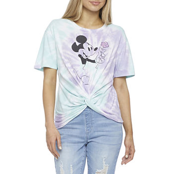 Mighty Fine-Juniors Womens Crew Neck Short Sleeve Mickey Mouse Graphic T-Shirt
