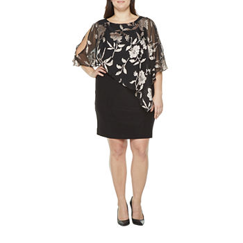 Scarlett-Plus 3/4 Split Sleeve Floral Overlay Shift Dress