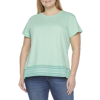 St. John's Bay Womens Plus Crew Neck Short Sleeve T-Shirt