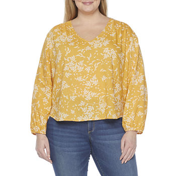 a.n.a-Plus Womens V Neck Long Sleeve Blouse