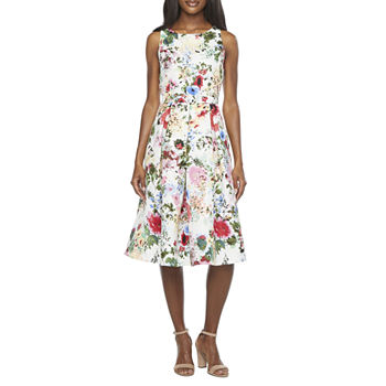 Danny & Nicole Sleeveless Floral Fit & Flare Dress with Coordinating Face Mask