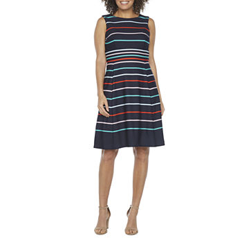 Studio 1 Sleeveless Striped Fit & Flare Dress