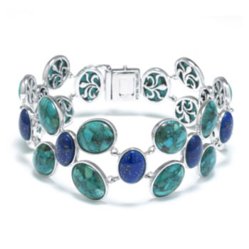 Fine Jewelry Enhanced Turquoise and Multi-Stone Sterling Silver Bracelet 1PwpcSpJ9