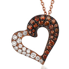 LIMITED QUANTITIES Grand Sample Sale™ by Le Vian® 3/8 CT. T.W Vanilla Diamonds® & Cherryberry Diamonds™ 14K Strawberry Gold® Le Vian Exotics® Heart Pendant Necklace