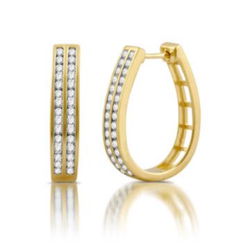 Fine Jewelry 1/3 CT. T.W. GENUINE White Diamond 10K GOLD 12.3mm Round Hoop Earrings 2M7a4ziCx