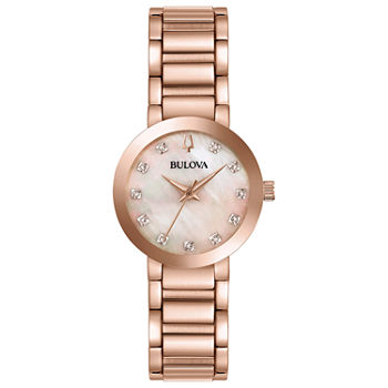Bulova Futuro Womens Diamond Accent Rose Goldtone Stainless Steel Bracelet Watch - 97p132