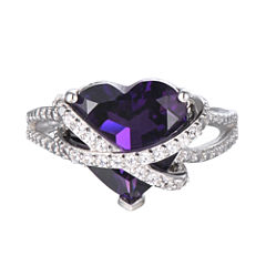 Lab-Created Amethyst & White Sapphire Heart Crossover Ring in Sterling Silver