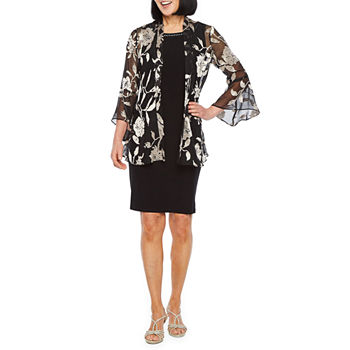 Scarlett 3/4 Bell Sleeve Embellished Jacket Dress
