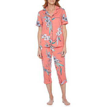 Liz Claiborne Womens 2-pc. Capri Pajama Set Short Sleeve