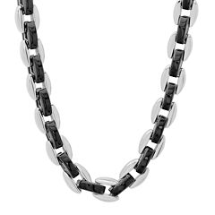 "Mens Two-Tone Stainless Steel 24"" Chain Necklace"