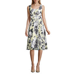 Connected Apparel Sleeveless Floral Fit & Flare Dress
