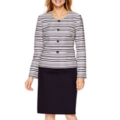 Isabella Long-Sleeve Striped Jacket and Skirt Suit Set