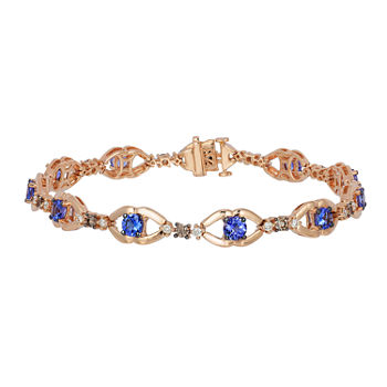 LIMITED QUANTITIES! Le Vian Grand Sample Sale™ Bracelet featuring Blueberry Tanzanite®  Chocolate Diamonds®  Vanilla Diamonds® set in 14K Strawberry Gold®