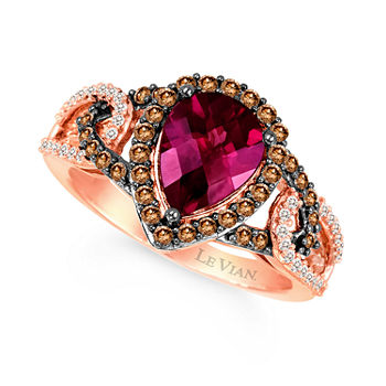53ee53afd LIMITED QUANTITIES Le Vian Grand Sample Sale™ Raspberry Rhodolite®, Vanilla  Diamonds®, & Chocolate Diamonds® Ring set in 14K Strawberry Gold®