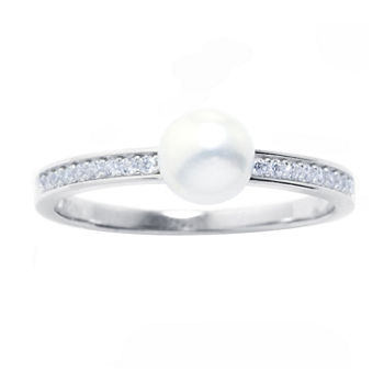 Silver Treasures Cubic Zirconia Cultured Freshwater Pearl Sterling Silver Band