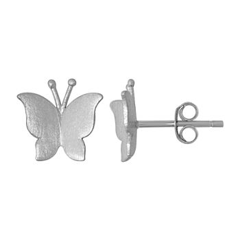 Itsy Bitsy Sterling Silver 9.5mm Butterfly Stud Earrings