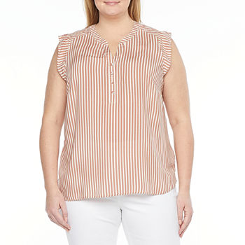 Liz Claiborne-Plus Womens Split Crew Neck Short Sleeve Poplin Blouse