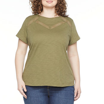 Liz Claiborne Womens Plus Crew Neck Short Sleeve T-Shirt