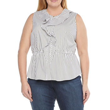 Liz Claiborne-Plus Womens Crew Neck Sleeveless Poplin Blouse